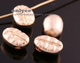 2pcs-10mm x7.5mm Matte Gold plated Brass  Coffee Bean Bead Centrepiece Charms (K220G)