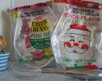 Vintage E-Z Foil Re-usable Baking Aluminum Cake Pans - Santa Claus and Easter Bunny