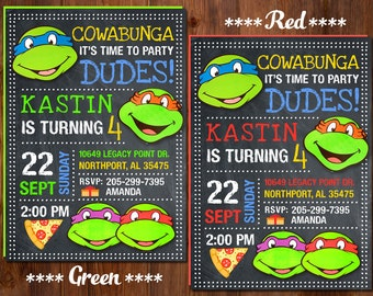 Ninja Turtle Invitation,  Ninja Turtles Party,  TMNT invitation, Teenage Mutant Ninja Turtle invitations, TMNT Birthday Invitation.,