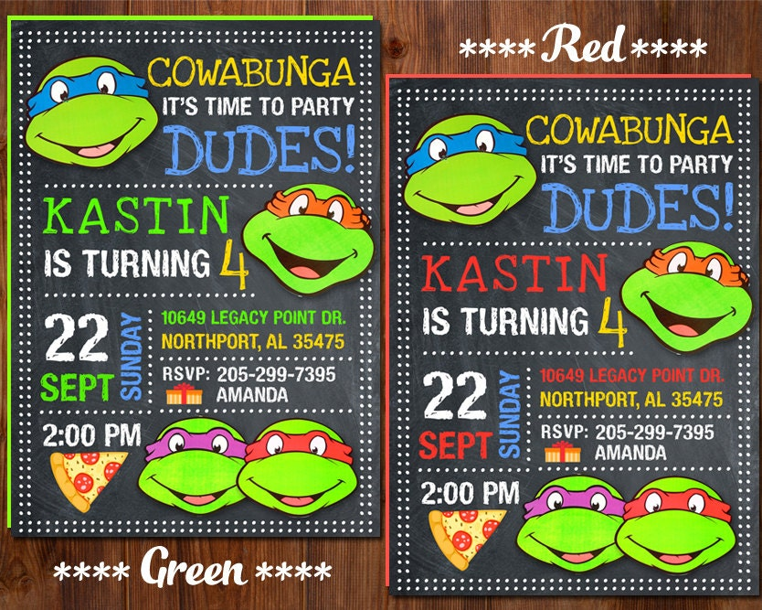 Ninja Turtle Invitation Ninja Turtles Party TMNT