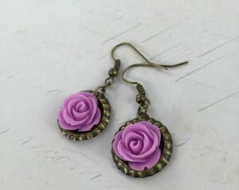 Lilac Purple Rose Bottle Cap Dangle Earrings // Bridesmaid Gift Idea // Handmade Christmas Gift