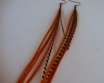 natural brown badger feather earrings with grizzly