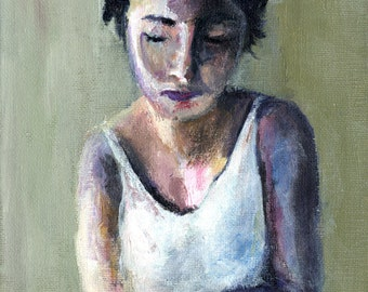Morning Tea - Portrait Painting, Abstract painting, Giclee Art Print, cafe art