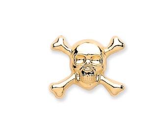 Men's 9ct Gold 7mm Skull & Crossbones Single Stud Earring