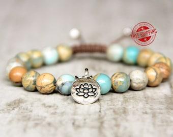 bracelet protection jewelry beaded shamballa bracelet adjustable lotus charm lotus bracelet for women healing bracelet macrame women gift