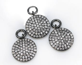 Lovely bead Coin CZ   Black Pave Small Charm Pendant 11mm