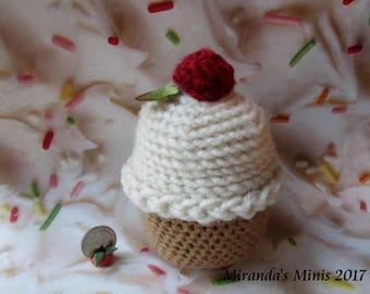 Cupcake with cherry play food,pincushion  crochet