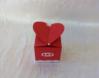 Box has Burgundy heart wedding favors