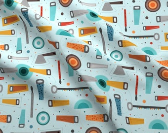 Saw Blades Fabric - Toolswood By La Fabriken - Woodshop Nursery Decor Cotton Fabric By The Yard With Spoonflower