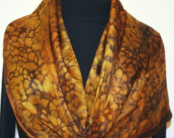 Brown Silk Scarf Brown Handpainted Handmade Silk Shawl GOLDEN PRAIRIE, by Silk Scarves Colorado. Select Your SIZE! Birthday, Christmas Gift