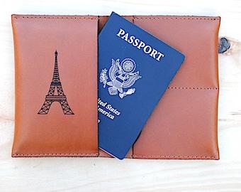 Leather Passport Holder Cover, Monogrammed Travel Wallet, Paris, Eiffel Tower, Paris Love, Take Me To Paris, Custom Passport Leather, France