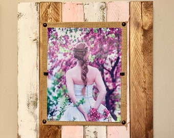 Reclaimed Wood Picture Frame, Beach Picture frame, Distressed Painted Frame, 8x10 Solid Wood Frame, Personalized Wood Picture Frame, Square