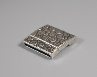 Antique Silver Swirl Magnetic Clasp, Clasp for 20mm flat leather, European made
