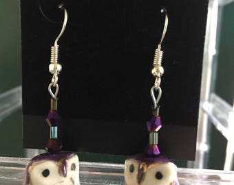 Purple owl earrings