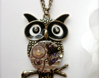 Steampunk Owl Pendant Necklace, Swarovski Crystals, Ruby Jeweled Watch Movement, Statement Necklace, Butterfly Owl Necklace, Gift for Her
