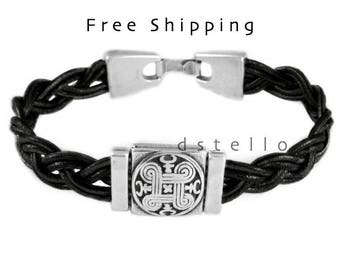 Fathers day gifts, Celtic leather bracelet, Celtic shield, Anniversary gifts, Womens jewelry, Mens cuff, Unisex, Birthday, Anniversary gift