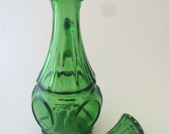 Tall Green Glass Cruet for Oil or Vinegar