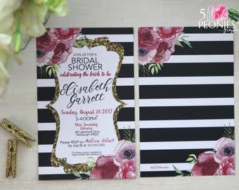 Bridal Shower Invitation - Pink floral invitation - Black Stripe