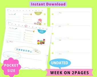 PRINTABLE Pocket Size,Undated Weekly Planner,Week On Two Pages,Filofax,Kikkik,Instant Download