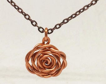 Copper rosebud necklace for women Copper flower jewellery Copper jewelry Boho Jewelry Copper jewellery Rose pendant gift for her