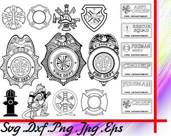 Fireman svg, Firefighter svg, Badge svg, Fire hose svg, Fire extinguisher svg, fire hydrant svg, fire engine, fire truck, clipart