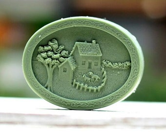 Oval House Soap Mold Flexible Mold Silicone Mold Soap Candle Mold Candy Cake Mold R1203
