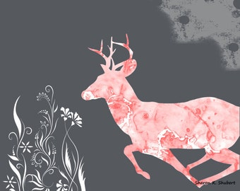 Deer Art, Marbleized Wall Hanging, Southwestern Totem Animal, Pink Gray White, Fantasy Home Decor, Digital Design, 8 x 10, Giclee Print