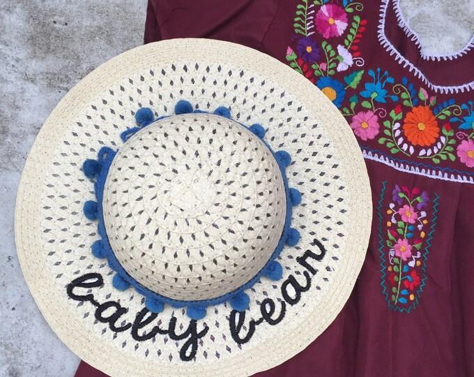 Floppy Hat Embroidered - Girls Straw Hat - Baby Bear Sun Hat - Tea Party Hat - Little Girls Summer Hat - Beach Hat  - Floppy Hat