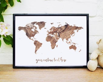 Monochrome print world map custom quote poster slate wall art rustic print world map custom quote poster rustic wedding wooden texture rustic wall art travel poster travel print personalised world map gumiabroncs Choice Image