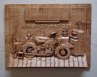 American Heritage Motorcycle   Wood Carving Wall Art   Vintage Motorcycle  Decor   Motorcycle Gifts   Motorcycle Garage Art