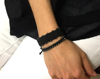 Arrow macrame bracelet with semi-precious hematite beads/Lucky charm/Yoga namaste bracelet/ Boho chic gift