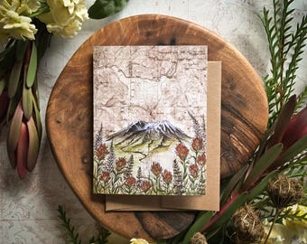 Mt. St. Helens Greeting Card, Mount St. Helens illustration card, Washington mountain flower card, print art topo map art, blank card