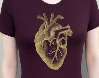 Heart Shirt Anatomical Heart T-Shirt Gold Heart Tshirt Heart Tee Women's Top Plum Red Shirt Screen Printed Tee Women's Clothes Vintage Tees