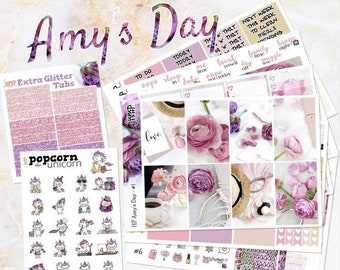 NewRELEASE Amy's Day pink floral set kit weekly stickers - classic medium HAPPY PLANNER - flowers purple glitter roses