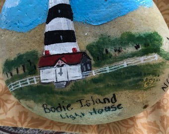 Bodie Island Light House painted rock