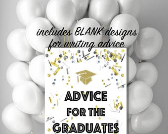 Advice for the Graduates Printable Party decorations and advice cards for Class of 2018 Grad celebration confetti poster, 4x6 8x10 20x24 jpg
