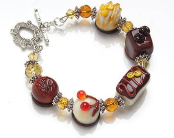Chocolate candy lampwork bracelet, sweets bracelet, chocolate bracelet, miniature food, candy bracelet, food jewelry, kawaii bracelet