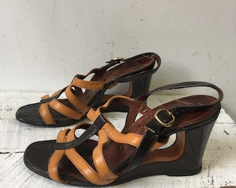 60s leather cutout heel sz 5.5
