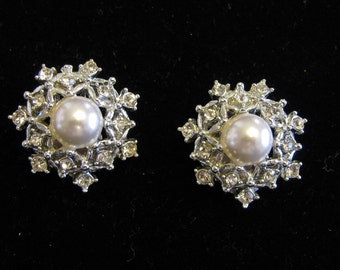 Vintage 1960s Sarah Coventry Pearl and Rhinestone Earrings
