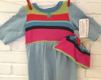 Baby girl sweater dress with cap, aqua and pink striped cotton, blue felt flower, upcycled sweaters, toddler dress, cotton stripes