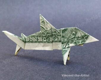 SHARK Money Origami Dollar Bill Fish Animal Sea Cash Sculptors Bank Note Handmade