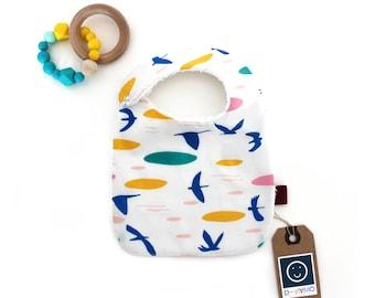 Baby bib organic cotton Birds  Drooler Bib