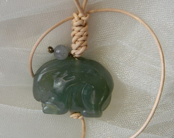 Jade rabbit necklace etsy jade rabbit w leather cord necklace beaded jewelry green jade jewelry jade pendant rabbit longevity talisman rabbit for fertility aloadofball Images