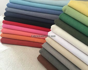 One Yard- Solid Flax Blended Fabric in Grey Gray White Blue Red Black - 21 Colors Choose