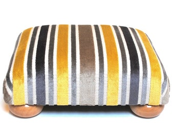 Contemporary Yellow and Grey Stripe Low Footstool