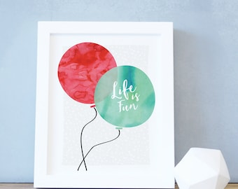 Kids Art Print Red Balloon Boy Decor Baby Nursery Decor Teal Kids Wall Art Nursery Wall Art Balloon Art and Decor 8x10 16x20. Balloon Print