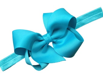 Turquoise baby headband  - turquoise bow headband, newborn headband, baby bow headband, baby girl headband, turquoise headband