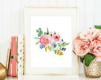 Watercolor Flowers Print, Baby Girl Nursery Art, Floral Art Print, Floral Nursery Decor, Nursery Printables, Girl Nursery Art Print, Flowers