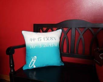 Latitude Pillow - Logitute Pillow - Coordinate Pillow - Coastal Decor - Nautical Home Decor Pillow - Beach House Decor - Coastal Pillow