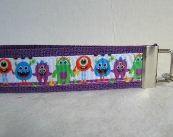 Monsters Key Chain - PURPLE Monster Key Fob - Wristlet Keychain - Silly Monsters Key Fob
